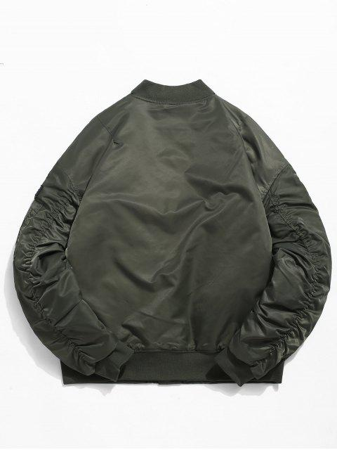 women Stand Collar Zip Pocket Sleeve Padded Jacket - ARMY GREEN 3XL Mobile