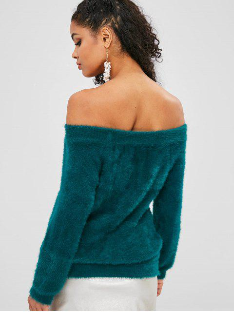 fancy Off Shoulder Solid Fluffy Sweater - MEDIUM SEA GREEN ONE SIZE Mobile