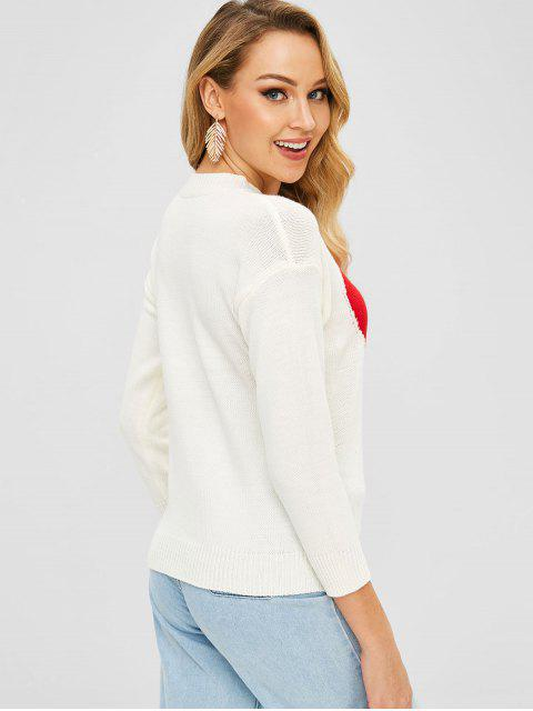 lady Heart Graphic Crew Neck Sweater - WHITE ONE SIZE Mobile