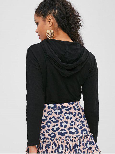 trendy Half-button Hooded T-shirt - BLACK L Mobile