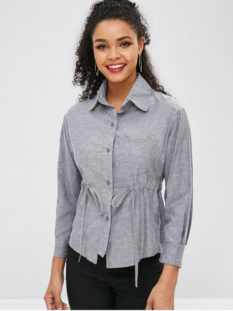 unique Waist Drawstring Button Up Shirt - GRAY M Mobile