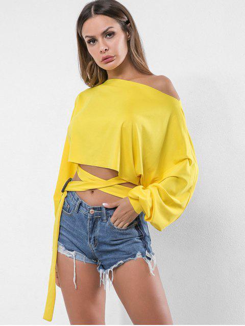 shop Skew Neck Belted Embellished Sweatshirt - SUN YELLOW M Mobile