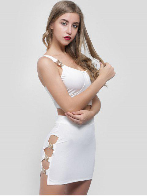unique Crop Top and Cut Out Skirt Set - WHITE M Mobile