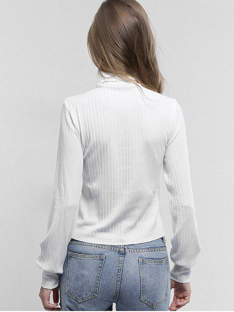 shop Turtleneck Plain Knitted Top - WHITE L Mobile