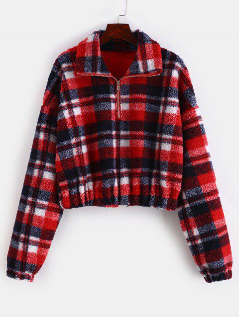 chic Plaid Crop Faux Fur Sweatshirt - MULTI-B M Mobile