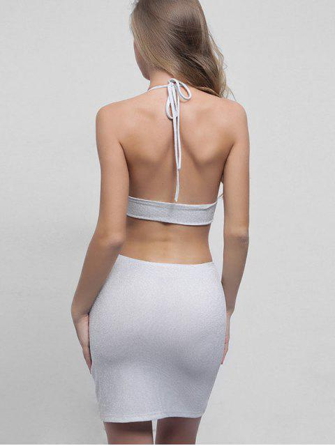 fashion Sparkly Backless Halter Top and Skirt Set - WHITE M Mobile