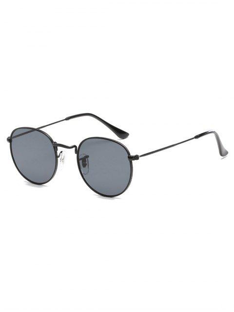 affordable Unique Metal Full Frame Flat Lens Sunglasses - BLACK  Mobile