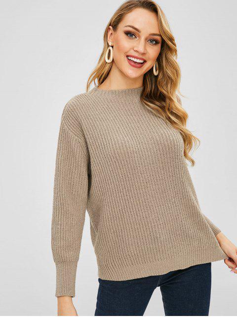 unique Drop Shoulder Loose Boyfriend Sweater - TAN ONE SIZE Mobile