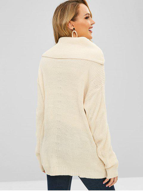 shop Plain Cowl Neck Sweater - BEIGE ONE SIZE Mobile