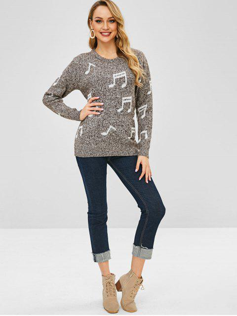 best Musical Notes Pullover Jumper - DARK GRAY ONE SIZE Mobile