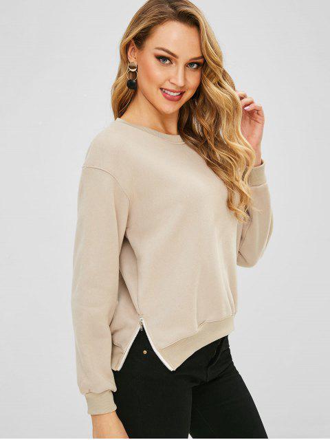 Sweat-shirt avec Zip Latérale à Goutte Epaule en Laine - Marron Camel Taille Unique Mobile