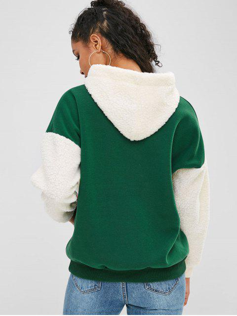 online Letter Embroidered Fluffy Insert Hoodie - GREEN ONE SIZE Mobile