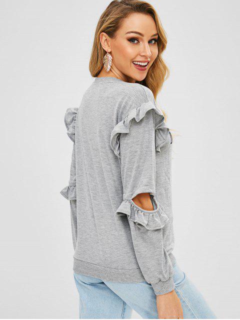 unique Letters Graphic Cutout Ruffles Pullover Sweatshirt - GRAY CLOUD L Mobile