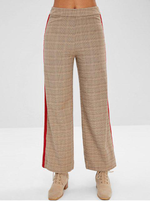 ZAFUL Plaid Velvet Trim pantalones de pierna ancha - Caqui Claro S Mobile