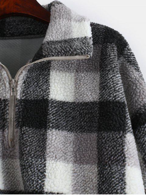 shop Plaid Crop Faux Fur Sweatshirt - MULTI-A M Mobile