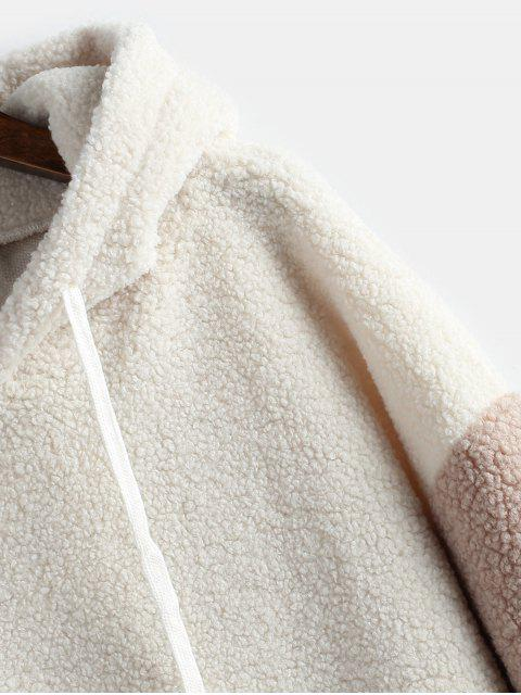 lady Color Block Teddy Oversized Hoodie - WARM WHITE ONE SIZE Mobile