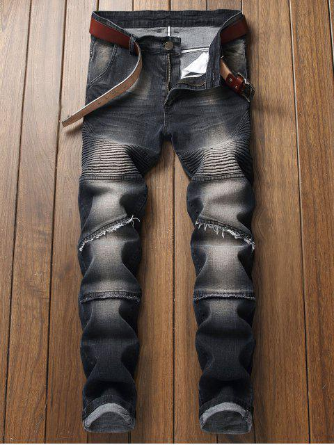 hot Pleated Faded Biker Jeans - BLACK 38 Mobile