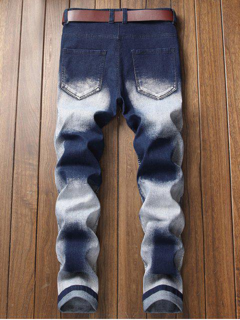 chic Embroidery Patchwork Ripped Pleated Faded Jeans - LAPIS BLUE 42 Mobile