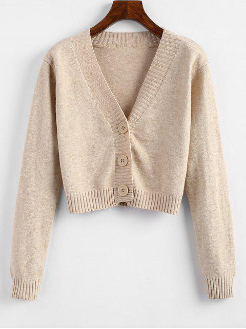 latest V Neck Cropped Cardigan - APRICOT ONE SIZE Mobile