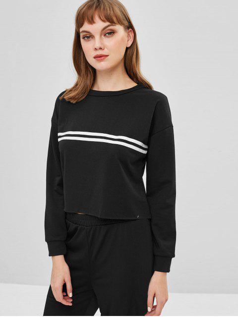 Sweat-shirt court à rayures - Noir M Mobile