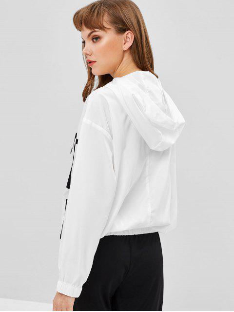 women Half Zip Print Tunic Hoodie - WHITE M Mobile