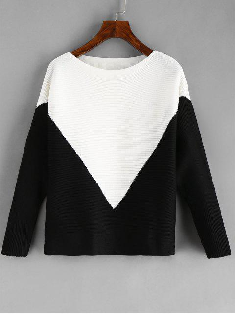 shops Two Tone Loose Fit Sweater - WHITE ONE SIZE Mobile