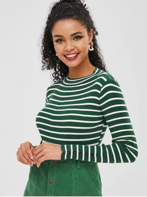 fancy Two Tone Striped Fitted Knitwear - SEA TURTLE GREEN ONE SIZE Mobile