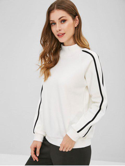 women's Striped Letter Raglan Sleeve Sweatshirt - WHITE M Mobile
