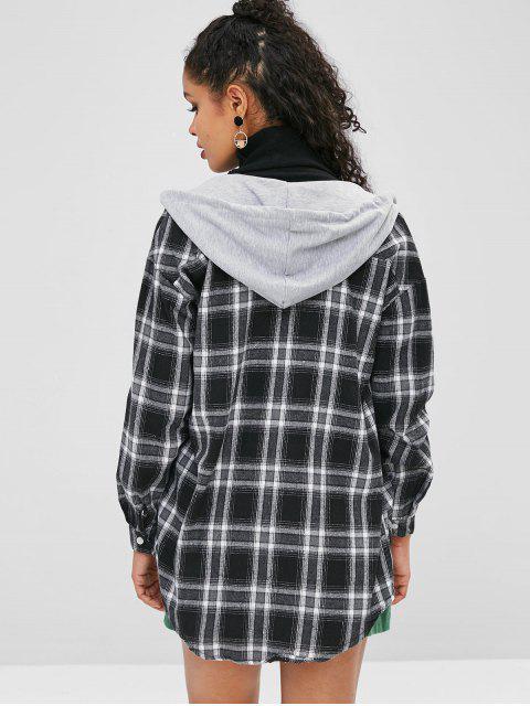Manteau à Capuche à Carreaux Goutte Epaule - Noir Taille Unique Mobile