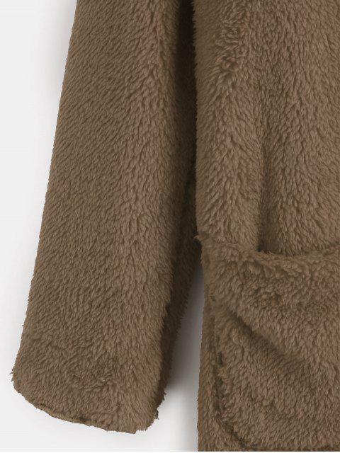 fancy Front Pocket Fluffy Coat - DARK KHAKI S Mobile