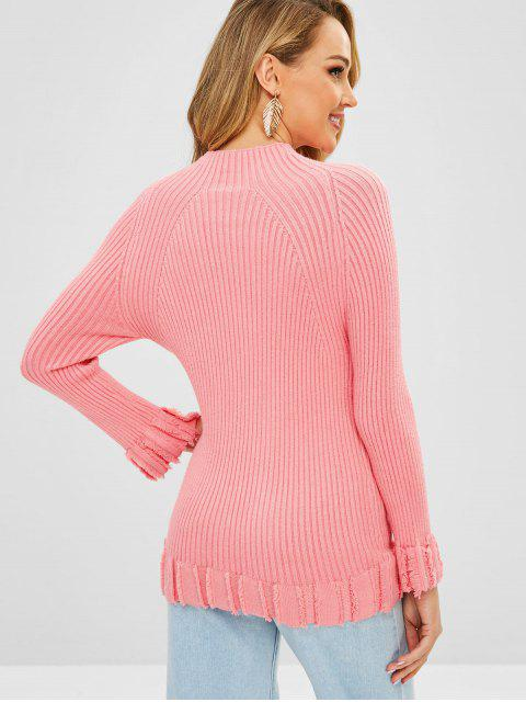 women's Mock Neck Frayed Raglan Sleeve Sweater - PINK ONE SIZE Mobile