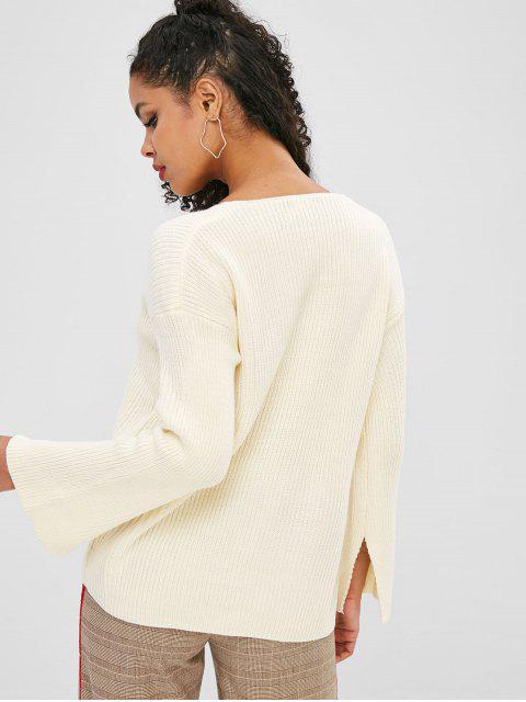Pull Fendu Manchette Fendue Goutte Epaule à Col V - Blanc de Crème  Taille Unique Mobile