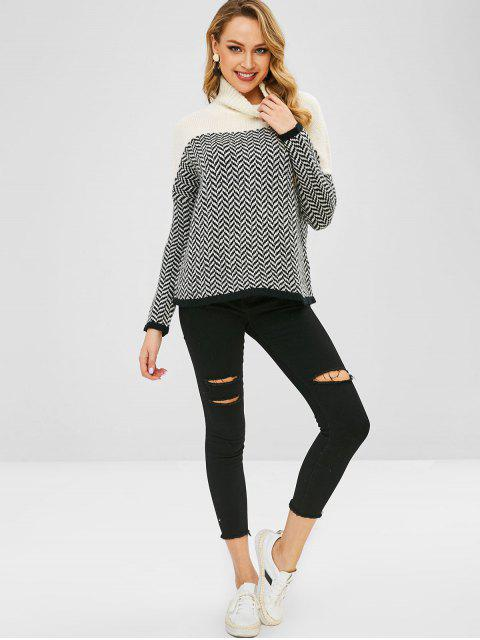 outfit High Neck Zigzag Graphic Sweater - MULTI-A ONE SIZE Mobile