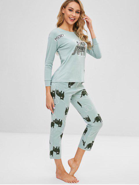 Ensemble de pyjama à épaules dénudées et à fleurs - Bleu Lys Pâle 2XL Mobile