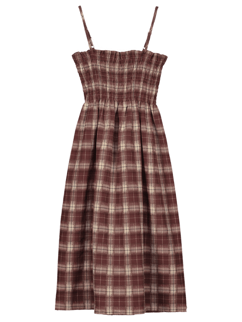new Smocked Plaid Cami Dress - MULTI S Mobile