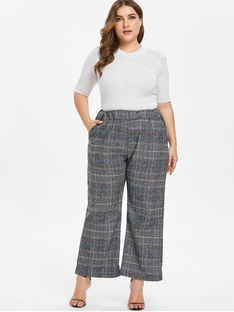affordable Plus Size Plaid Tweed Wide Leg Pants - MULTI-A 2X Mobile