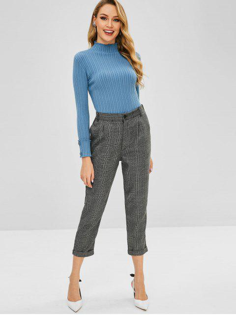 affordable Cuffed Sleeves Plain Ribbed Sweater - SILK BLUE ONE SIZE Mobile