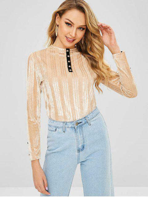 lady Buttons Embellished Long Sleeves Velvet Tee - CHAMPAGNE M Mobile