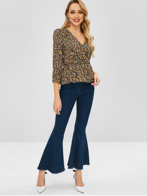 affordable Leopard Surplice Blouse - BEE YELLOW L Mobile