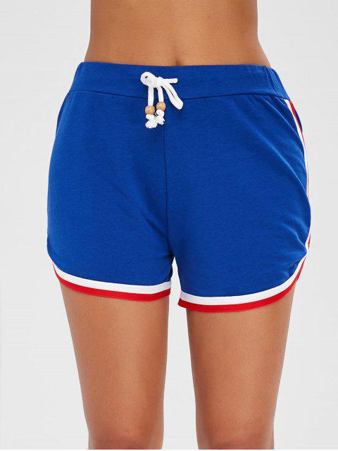 chic High Waisted Panel Shorts - BLUEBERRY BLUE XL Mobile