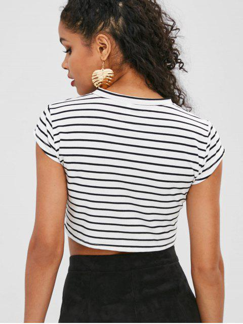 new Cropped Striped T Shirt with Knot - MULTI L Mobile