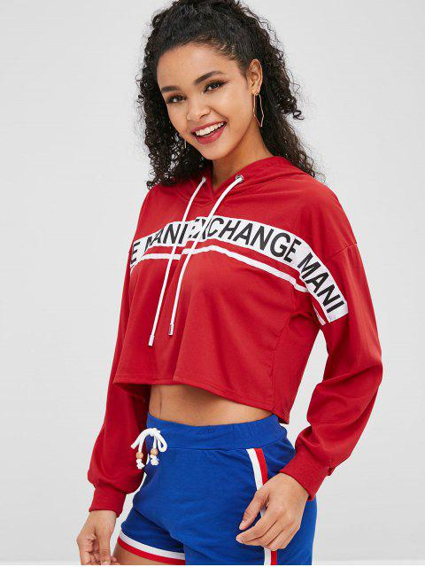 buy Pullover Cropped Letters Graphic Hoodie - LAVA RED S Mobile