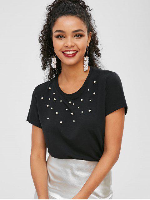 T-shirt Manches Courtes avec Fausse Perle - Noir L Mobile