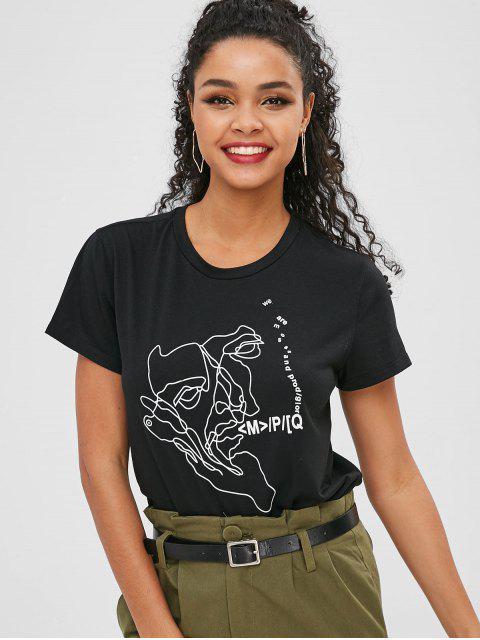 latest Short Sleeve Letter Graphic T Shirt - BLACK S Mobile