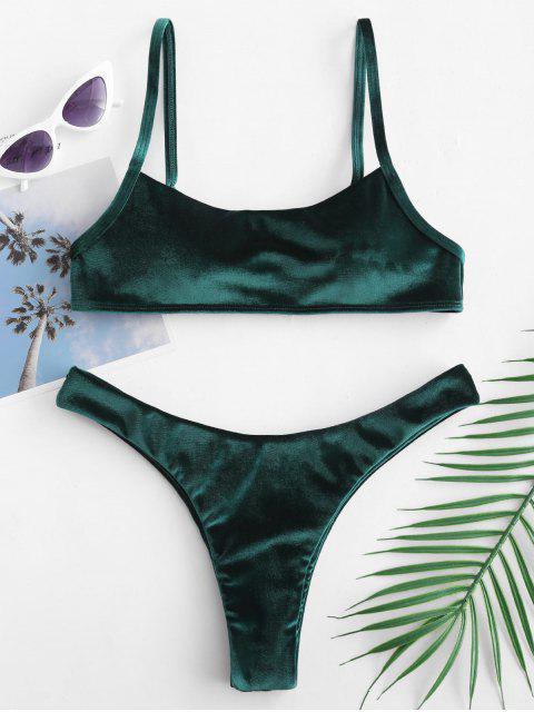 online ZAFUL Velvet High Leg Bikini Set - MEDIUM SEA GREEN L Mobile