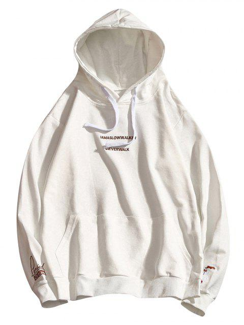 best Letter Embroidery Drawstring Hoodie - WHITE M Mobile