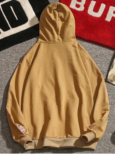 online Letter Embroidery Drawstring Hoodie - GOLDEN BROWN S Mobile