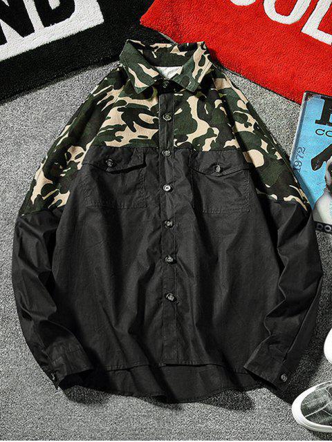 unique Top Camo Chest Pocket Shirt - BLACK 3XL Mobile