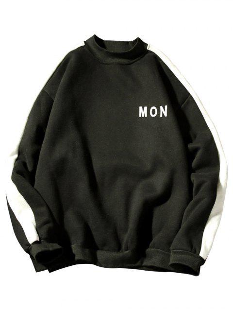Sweat-shirt Lettre Rayé Contrasté en Laine - Noir S Mobile
