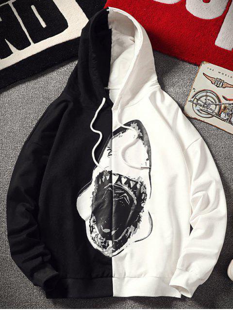 Sweat à Capuche en Blocs de Couleurs avec Requin - Noir XL Mobile